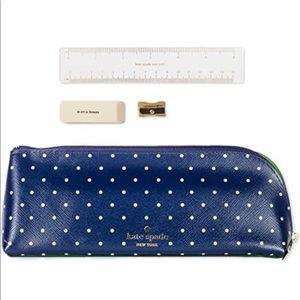 Kate Spade Pencil Case Navy Dots Larabee NWT Gold